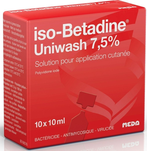 iso-Betadine Uniwash 7,5% Solution pour Application Cutanée Unidose 10 x 10ml | Désinfectants - Anti infectieux