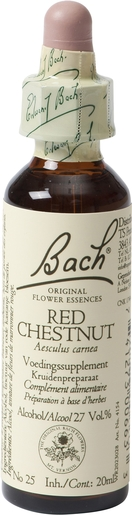 Bach Flower Remedie 25 Red Chestnut 20ml | Peur - Inquiétude