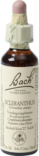 Bach Flower Remedie 28 Scleranthus 20ml | Doute - Incertitude