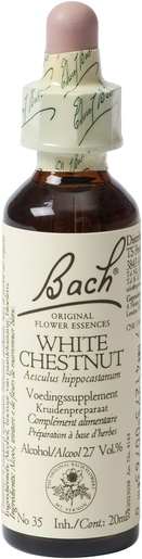 Bach Flower Remedie 35 White Chestnut 20ml | Désintérêt