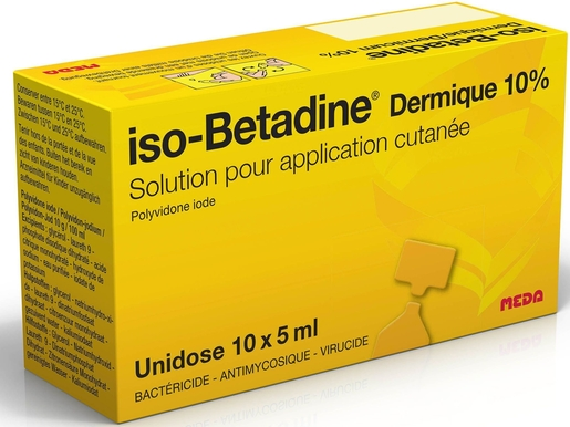 iso-Betadine Dermique 10% Solution pour Application Cutanée Unidose 10 x 5ml | Désinfectants - Anti infectieux